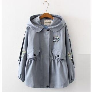 Image of Hood Embroidered Zip Trench Jacket