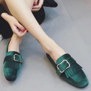 Buckled Fringe Low Block Heel Loafers picture