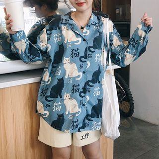 Image of Cat Print Shirt / Lettering Shorts