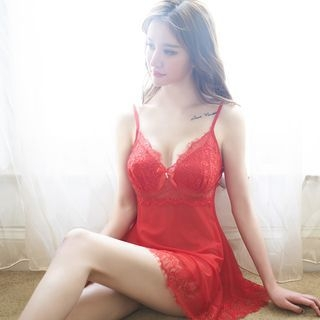 Set: Lace Nightdress + Thong 1056982437