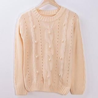 Pom Pom Cable Knit Sweater