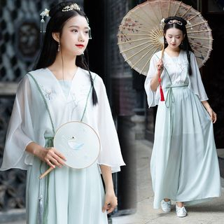 Image of 3/4-Sleeve Traditional Chinese Top / Wide-Leg Pants / Set