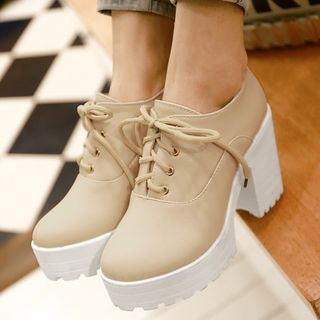 Image of Chunky Heel Platform Lace-Up Shoes