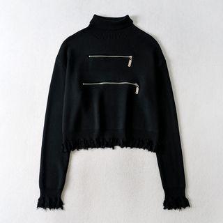 Mock-turtleneck Ruffle Trim Knit Top Black - One Size