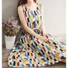 Sleeveless Patterned Maxi A-line Dress 1596