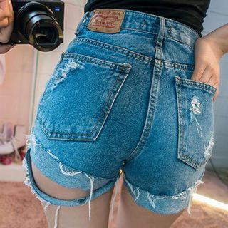 Distressed Washed Denim Shorts 1059836976