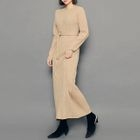Round-Neck Ribbed Long Dress With Sash 1596