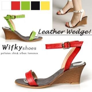 Picture of Wifky Ankle Strap Wedge Sandals 1022731715 (Sandals, Wifky Shoes, Korea Shoes, Womens Shoes, Womens Sandals)