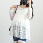 Maternity Long-Sleeve Lace Top 1596