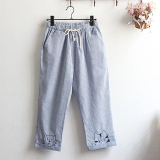 Image of Cat Embroidered Pinstriped Drawstring Pants