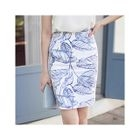 Printed Pencil Skirt 1596