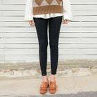 Button-Front Fleece-Lined Leggings Pants 1596