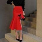 Asymmetric Ruffle Pencil Skirt 1596