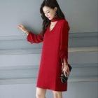 Long-Sleeve Cutout Dress 1596