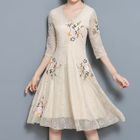 Embroidered 3/4-Sleeve A-Line Lace Dress 1596