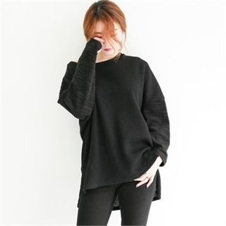 Dip-Back Ribbed Knit Sweater 1054261507