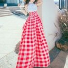 Tie-Waist Gingham Cotton Halter Sheath Dress 1596