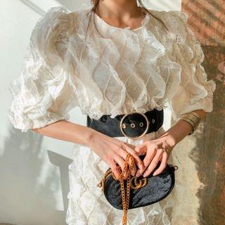 Elbow-Sleeve Laced Velvet Midi Sheath Dress 1064063971