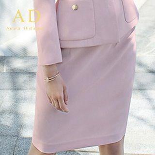 Image of Pocket-Accent Blazer / Pencil Skirt
