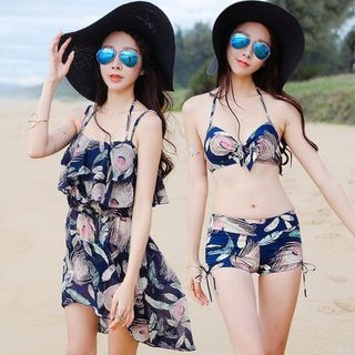 Set: Print Bikini Top + Swim Shorts + Cover-Up Dress 1050042253