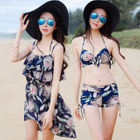 Set: Print Bikini Top + Swim Shorts + Cover-Up Dress 1596