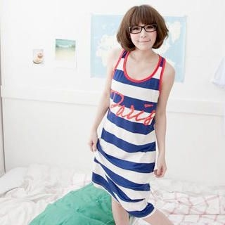 Buy ZOO Print Striped Long Tank Dress 1022931930