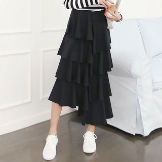 Band-Waist Long Tiered Skirt 1057437945