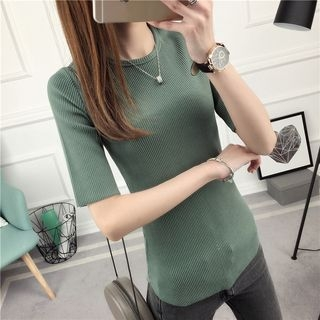 Ribbed Elbow-Sleeve T-Shirt 1057758893