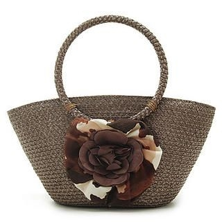 Buy Let's Fly Flower Trim Woven Hand Bag Moka – One Size 1022938204