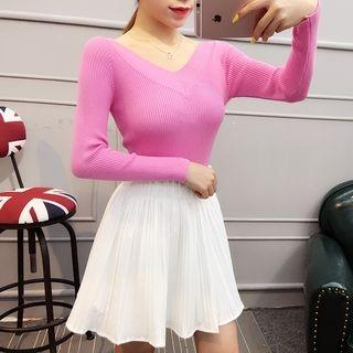 V-Neck Long Sleeve Knit Top 1052691404