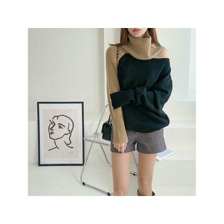 Turtleneck Two-tone Sweater Black - One Size
