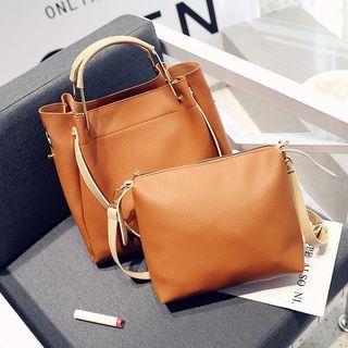 Set: Faux Leather Tote + Shoulder Bag 1060861419