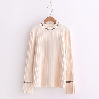 Long-Sleeve Contrast-Trim Ribbed Sweater 1061981097