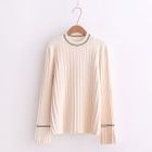 Long-Sleeve Contrast-Trim Ribbed Sweater 1596