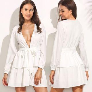 Long-Sleeve Tie-Waist Layered Dress 1064000680