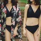 Set: Plain Bikini + Floral Cover 1596