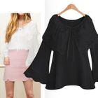 Bell-Sleeve Cutout Lace-up Shirt 1596