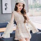 Set: V-Neck Mesh Panel Long-Sleeve Top + Tweed Skirt 1596