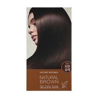 Nature Republic - Hair & Nature Hair Color Cream (#5N Natural Brown): Hairdye 60g + Oxidizing Agent 60g + Hair Treatment 9g 3pcs 1064556028