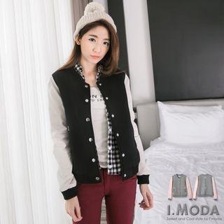 Faux-Leather-Sleeve Baseball Jacket 1052804001