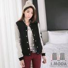 Faux-Leather-Sleeve Baseball Jacket 1596