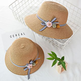 Image of Family Matching Flower Detail Bow Detail Boater Hat