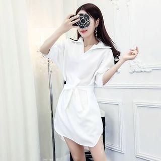 Long-Sleeve Tie-Waist Dress 1065529801