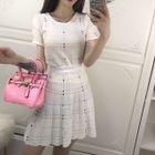 Set: Patterned Short-Sleeve Knit Top + A-Line Knit Skirt 1596
