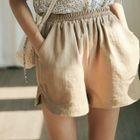Plain High-Waist Wide-Leg Shorts 1596