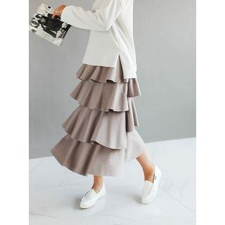 Band-Waist Layered Ruffle Long Skirt 1057395117