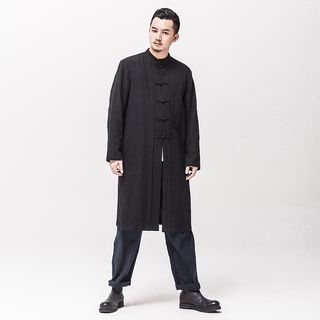 Chinese-Style Frog-Button Long Jacket