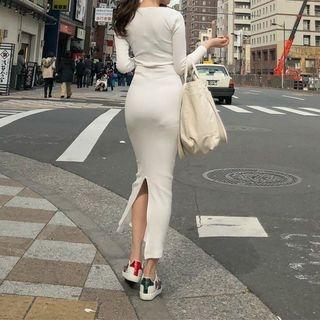 Slit-Hem Ribbed Maxi Dress 1065389171