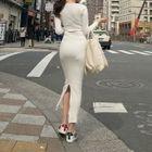 Slit-Hem Ribbed Maxi Dress 1596