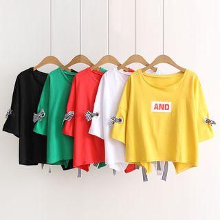 Print Lace Up Short-Sleeve T-shirt 1064669609